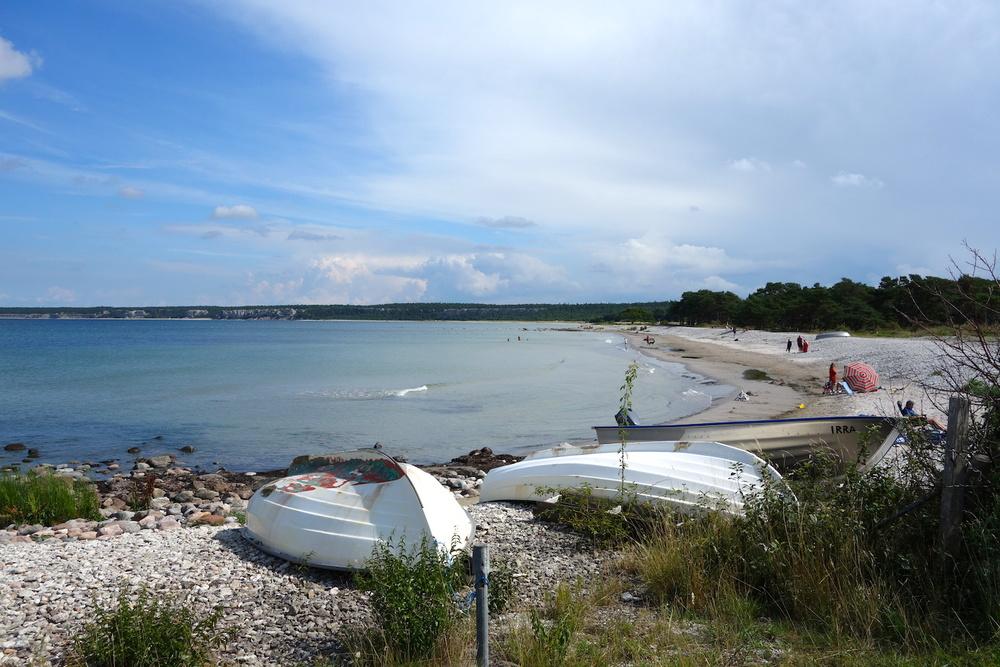 Fin strand vid Ihre som besöktes under cykelturen på Gotland
