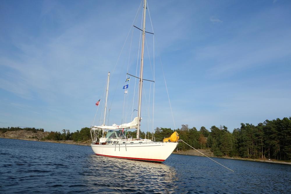 Arcturus calmly at anchor (finally)...