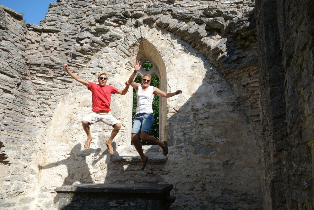 Our regular jumping photo in 13th-century church ruins.