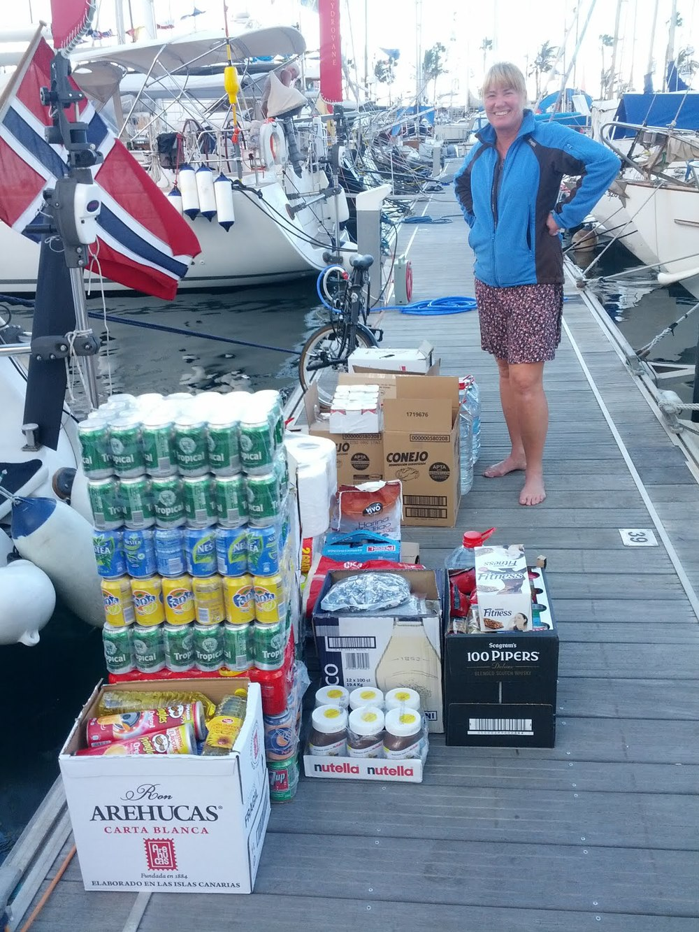 A typical dockside scene when provisioning for an ocean crossing.