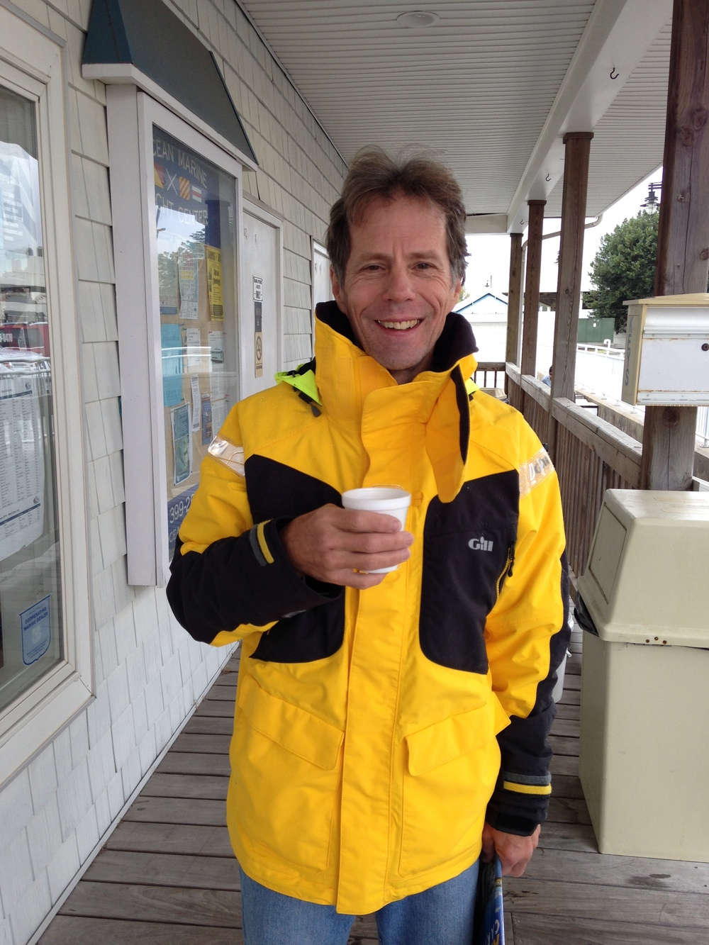 Jamie Wendell from Mystic Shadow enjoying the marina's free coffee this morning.