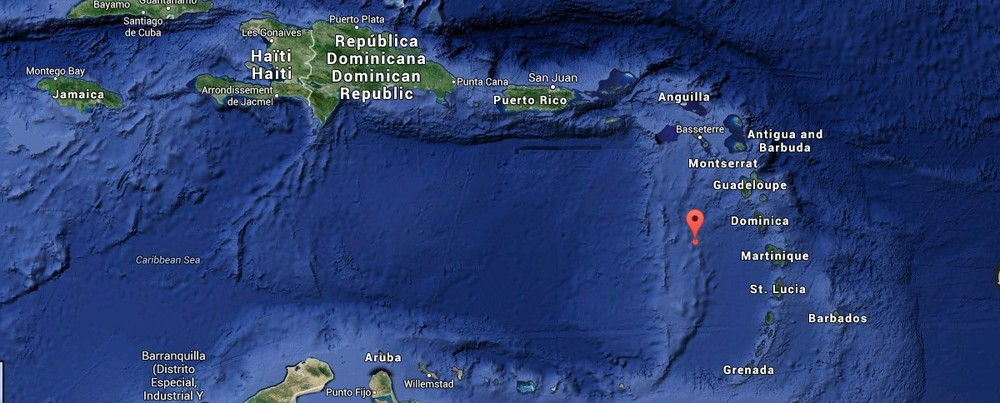 Serenity 2015.02.17, 8 am: 15°00'N 62°53'W, just west of Dominica. Serenity is the red drop on the map.