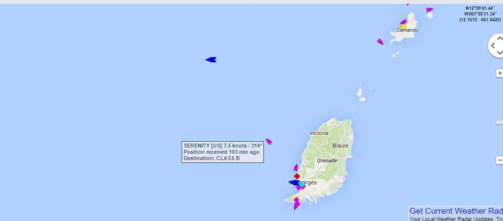 Serenity was spotted on marinetraffic.com via AIS 22 February at 13.00, three our after departing Grenada. They are the pink/purple spot next to the name box.
