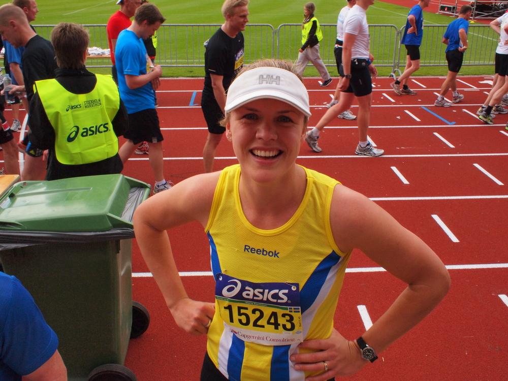 Efter målgång på Sthlm Marathon 2011