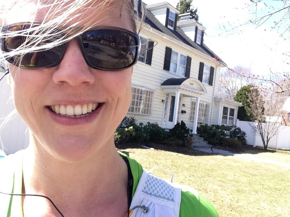 Så här glad är jag efter 20 km löpning i underbara Boston!