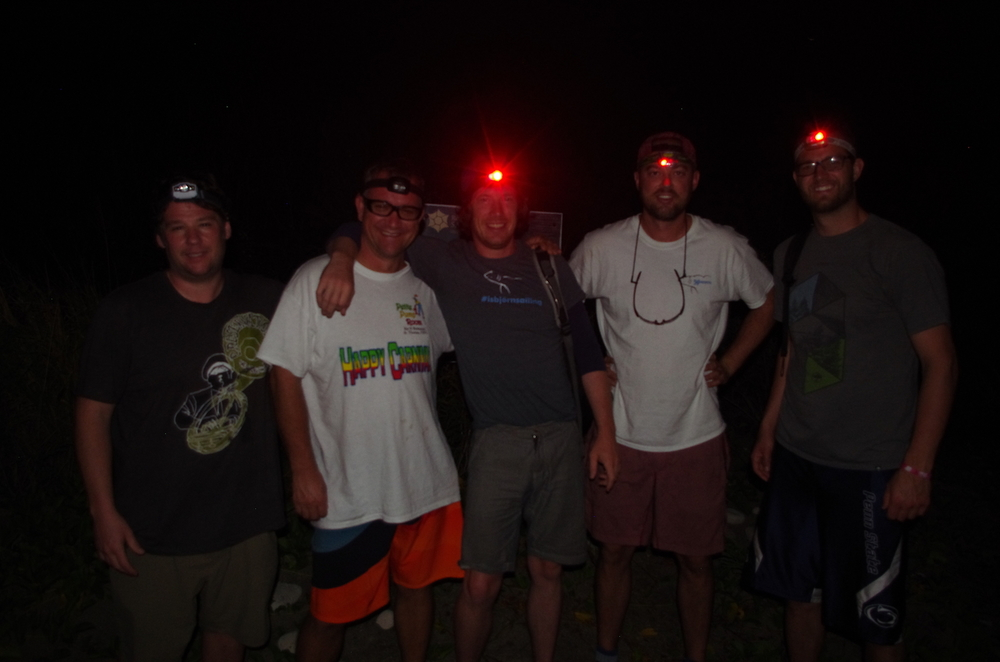 Ashore at 0530, hiking by headlamp.