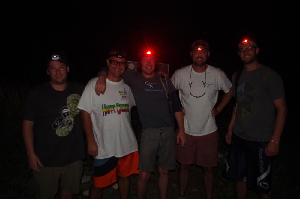Ashore at 0530, hiking by headlamp.