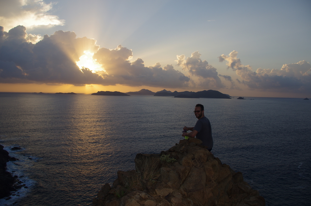 Andy Staus at sunrise, St. Barth's behind.