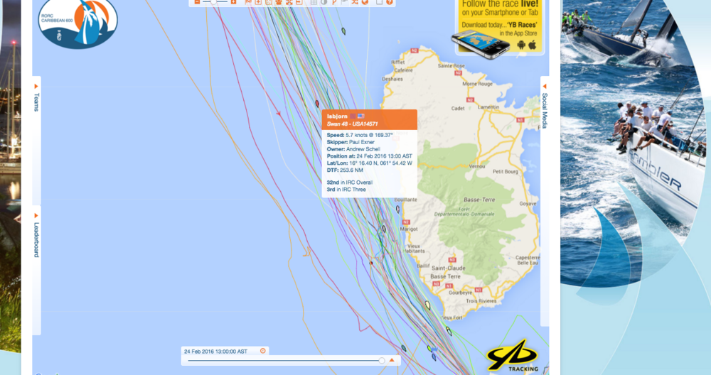 Track the race:  http://caribbean600.rorc.org/Tracking-Players/2016-fleet-tracking.html