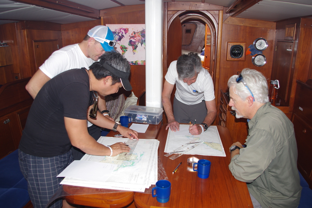 Crew planning the course