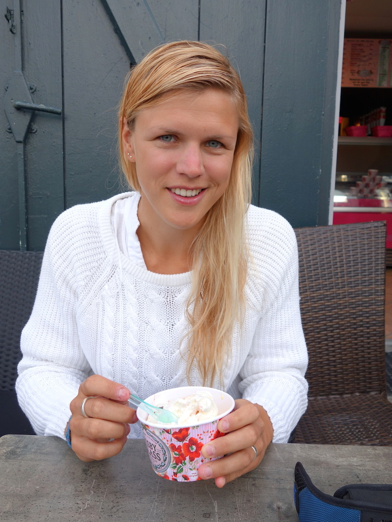 Ice cream in Visby, Gotland after a 30 km jog!