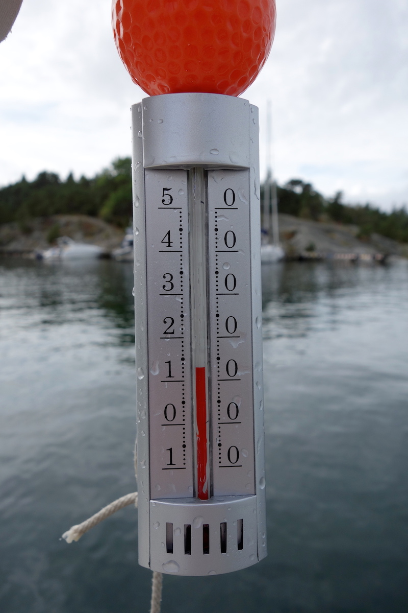 The water temperature drops down in the low 50th in the outer archipelago towards the end of the summer!