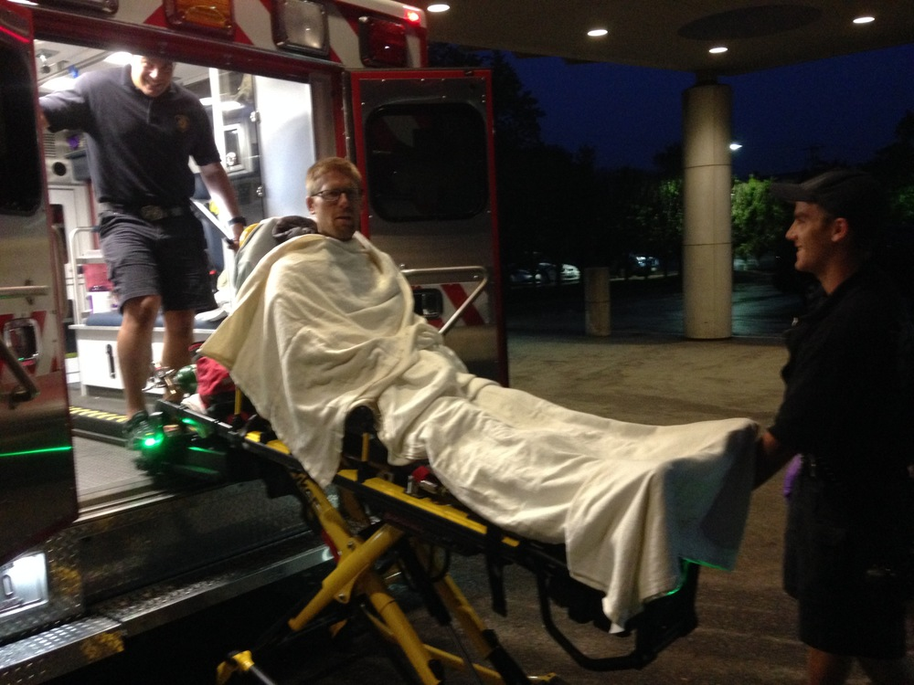 Andy getting wheeled from the ambulance into the ER at Newport Hospital at 0500 Tuesday July 5.
