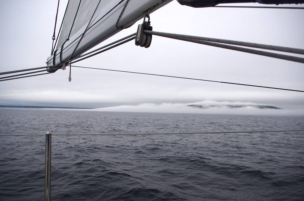 Fog clearing once around Cape Race.