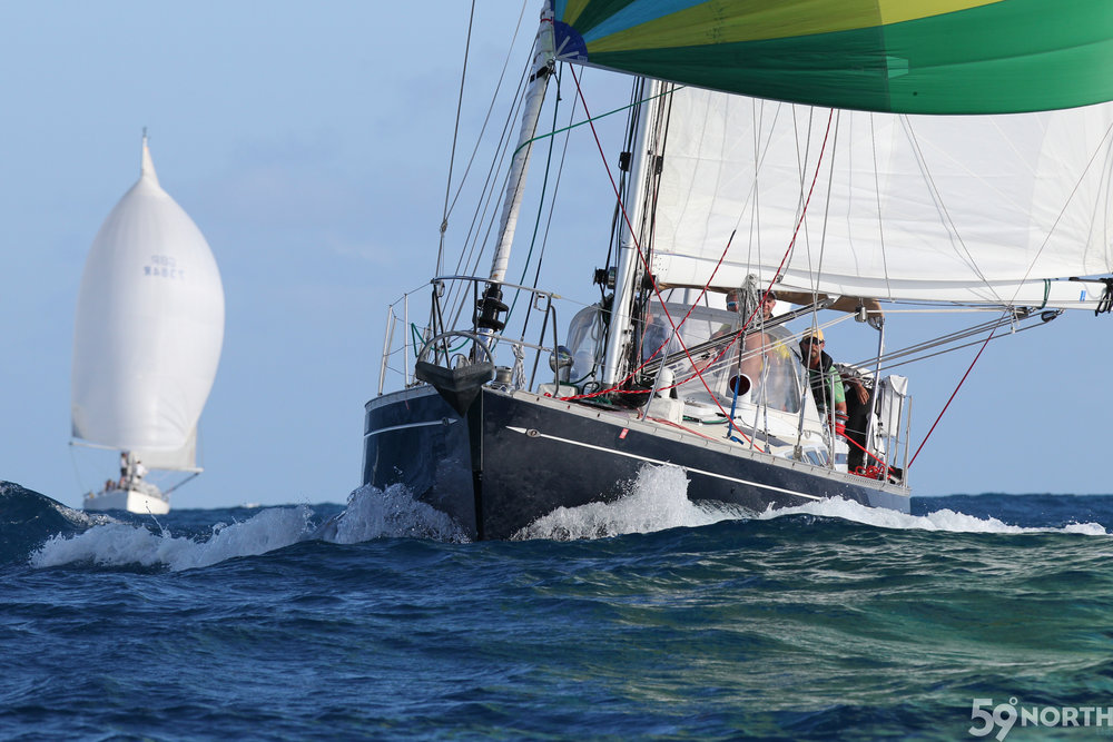 Isbjorn  under spinnaker at the start of Caribbean 600! Photo by Tim Wright / photoaction.com