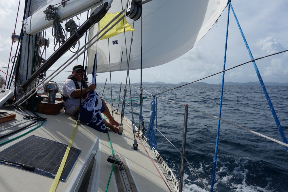 Andy's Dad Dennis on Isbjorn during last year's landfall in Tortola.