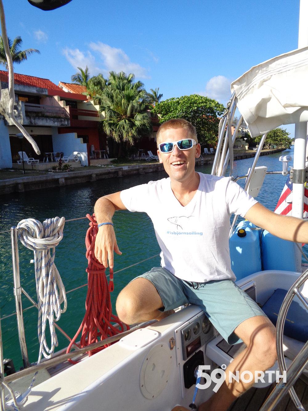 Andy taking Isbjorn into Marina Hemingway, Havana! April 2016