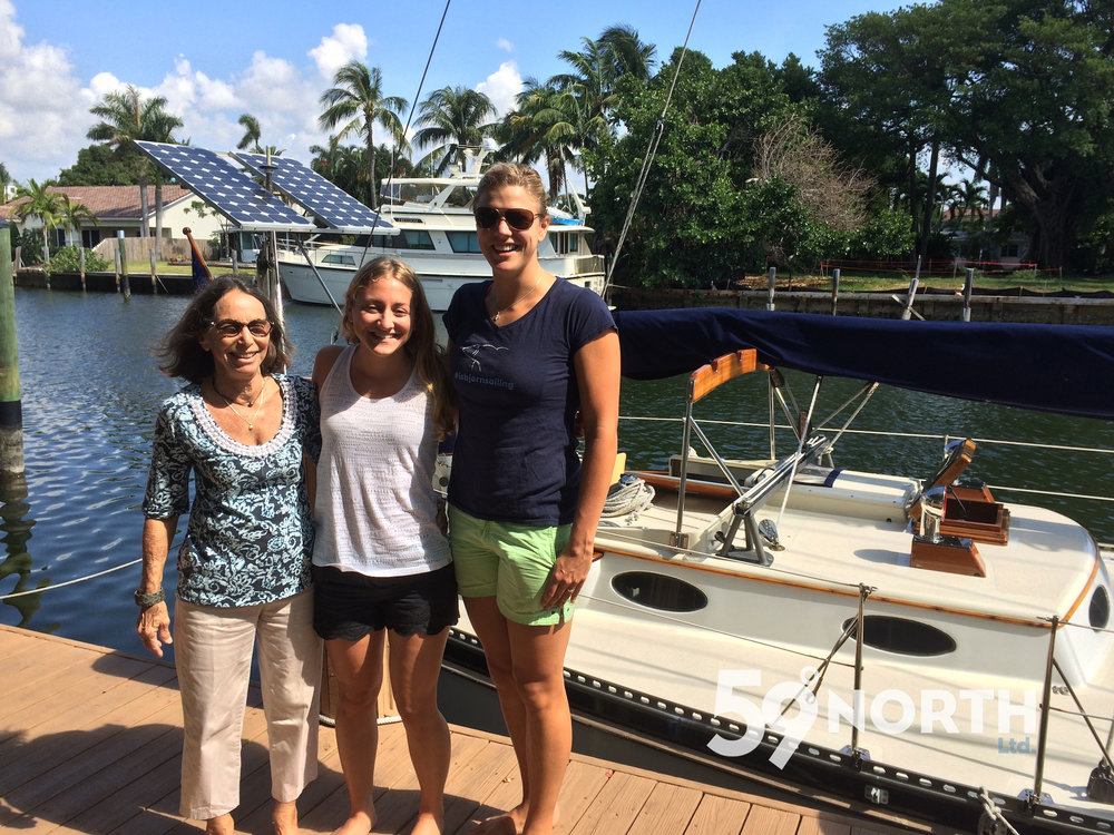 Mia the giant! Visiting our friend Pam Wall in Ft. Lauderdale a few days; her Freya 39  Kandarik  behind us. Isbjorn was docked just across the street from her. May 2016