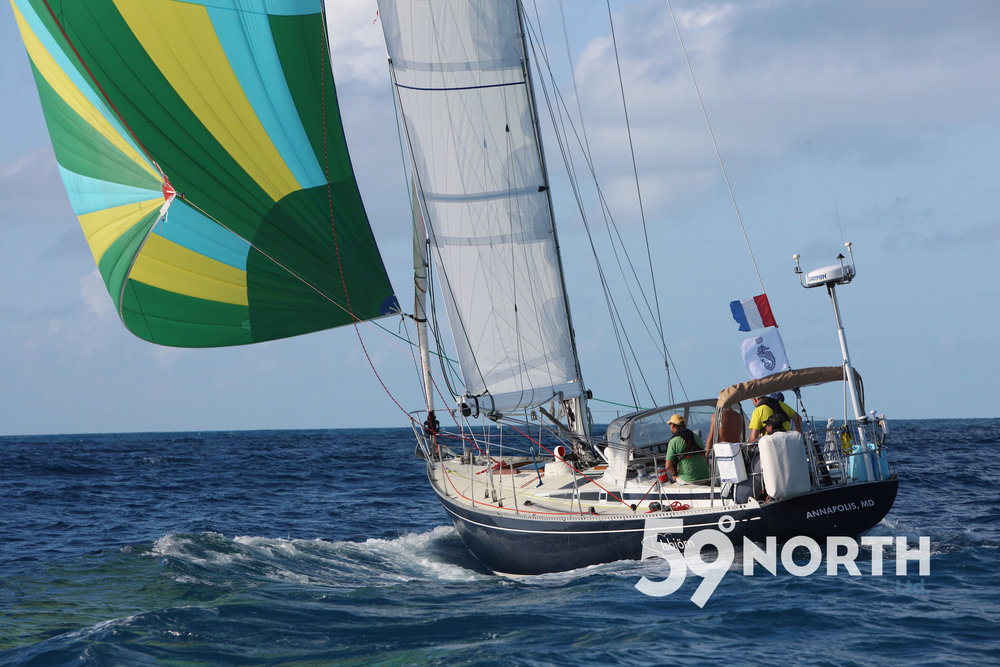 Isbjorn under spinnaker during the RORC Caribbean 600 race! Feb 2016. Photo credit Tim Wright, www.photoaction.com