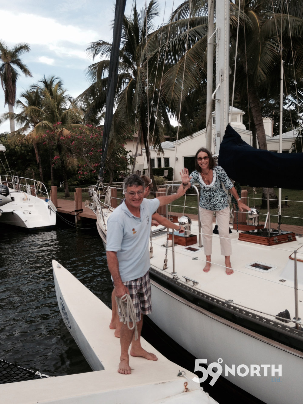 Pam waiving goodbye as we are heading out for a sunset sail on Etienne's trimaran in Ft. Lauderdale. May 2016