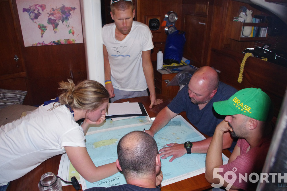 First leg of the year, planning our route before leaving the BVI crew look very focused. :) Jan 2016