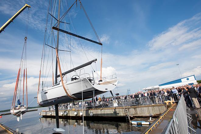 The new ClubSwan 50 launching at Nautor in Jakobstad.