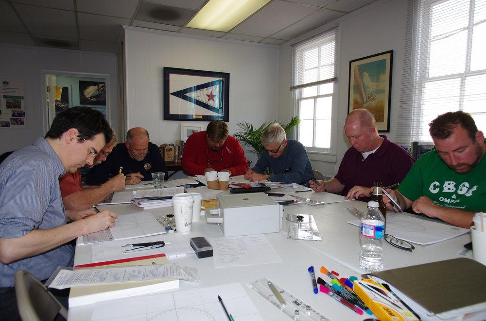 Working hard at the US Sailing Hall of Fame at our Feb. 2014 seminar.