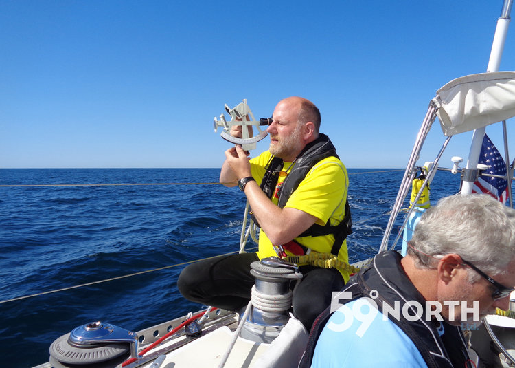 #isbjornsailing crew Dan taking sights offshore from Lunenburg-Annapolis, summer 2016.
