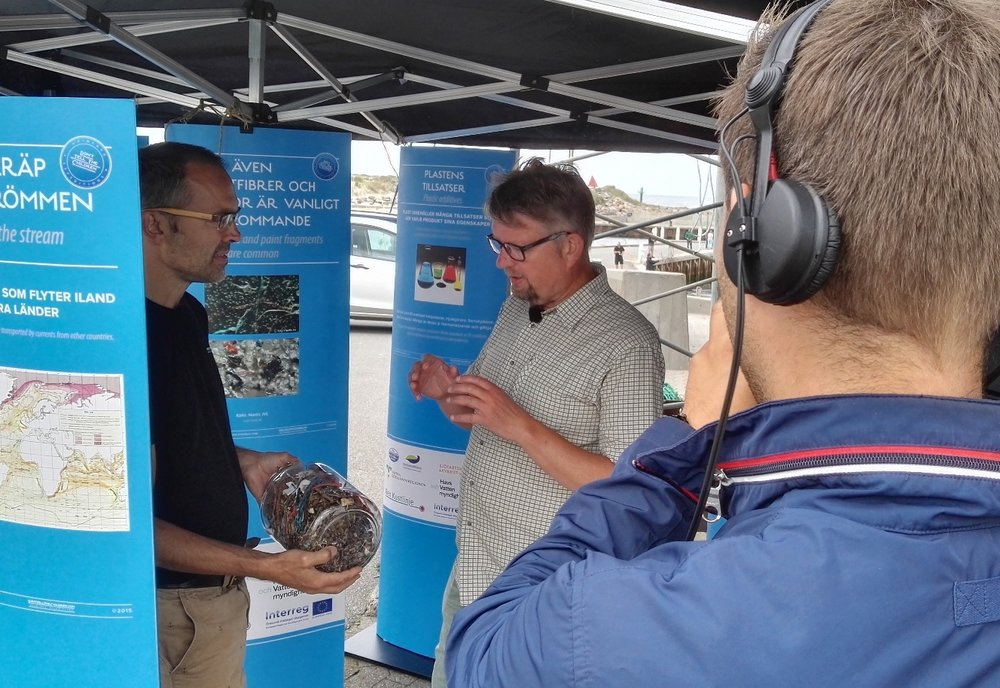 Martin meeting a Danish meyor and TV at one of the marine litter exhibitions