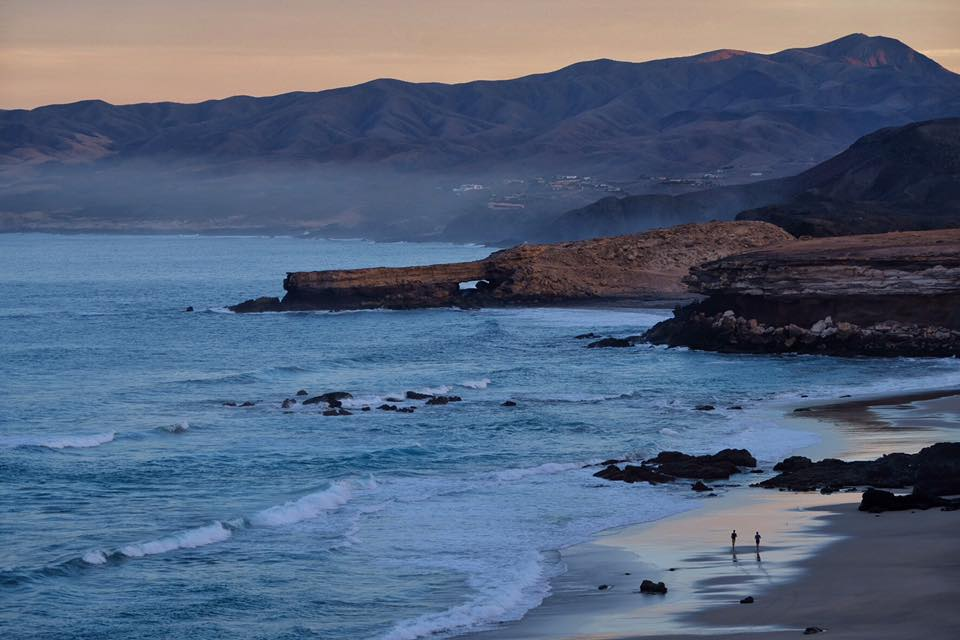 One of the two runners is me, making the most of the last day at La Pared, Fuerteventura