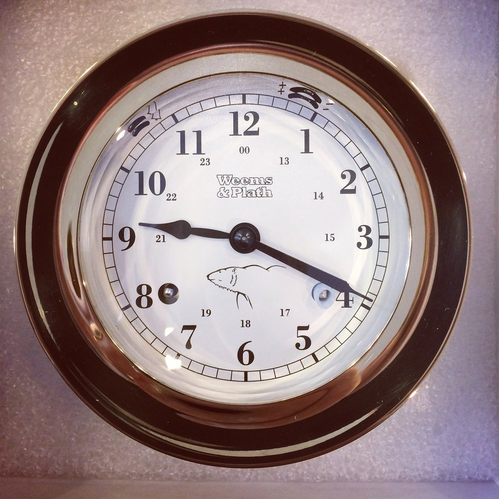 Isbjorn's Atlantis-series mechanical ship's bell clock.