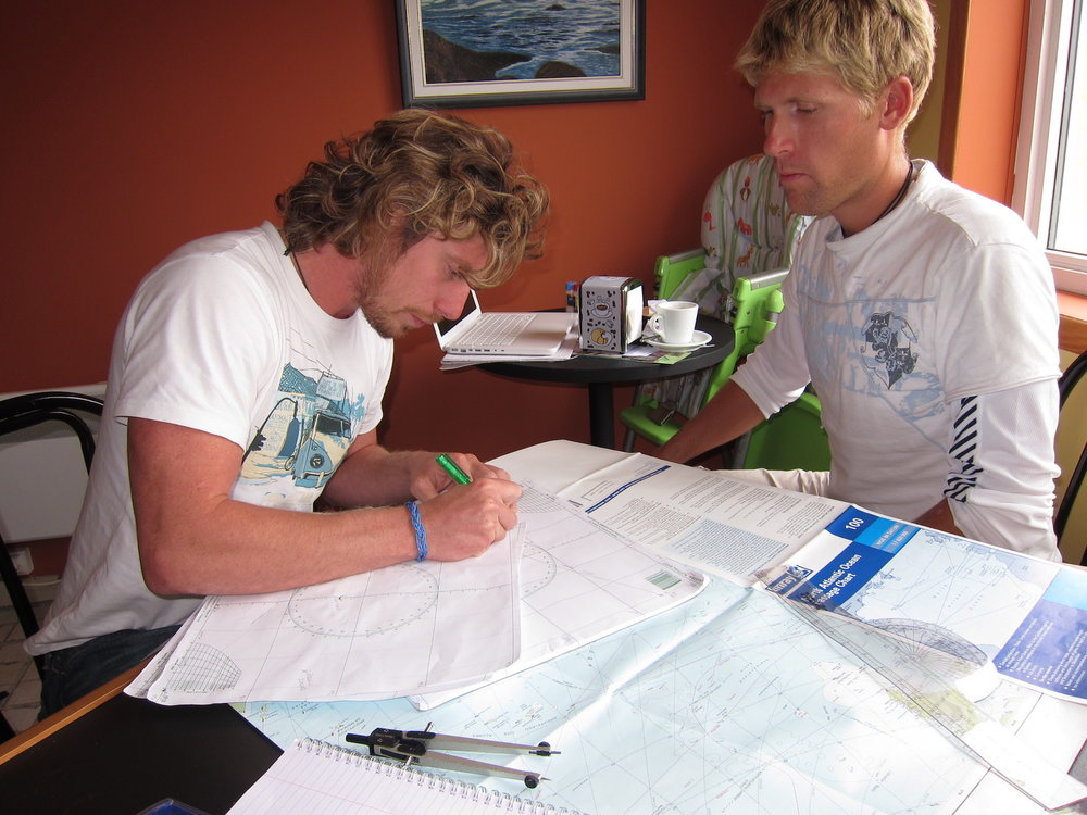 Planning our route at the local coffee shop in St. Pierre
