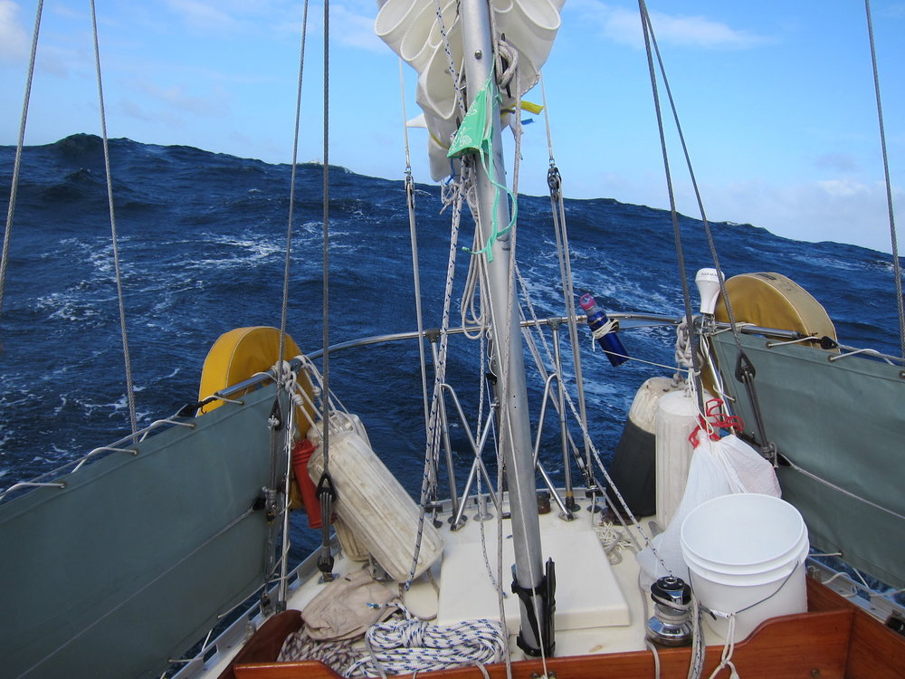 Great swell behind, our wind vane 'Sune the Driver' took us across!
