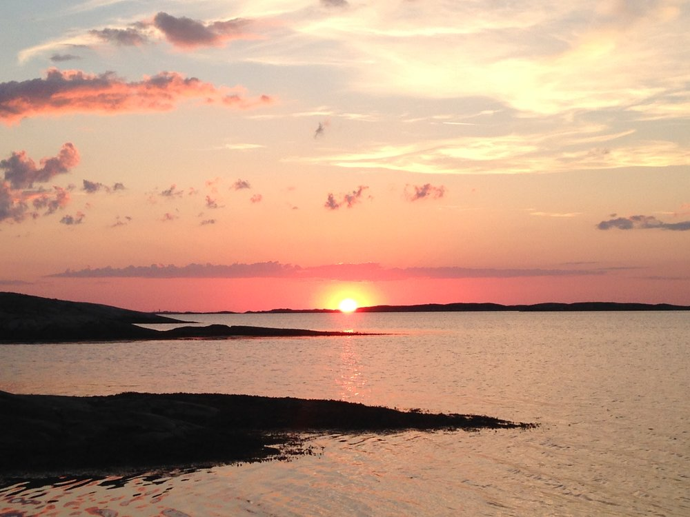Late-night sunsets in the west coast archipelago on the island of Orust.