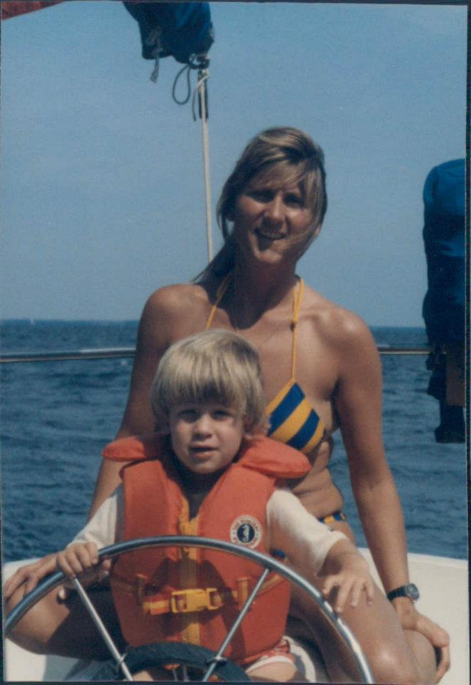 Andy & mom on 'Sojourner,' the Allied Princess ketch.
