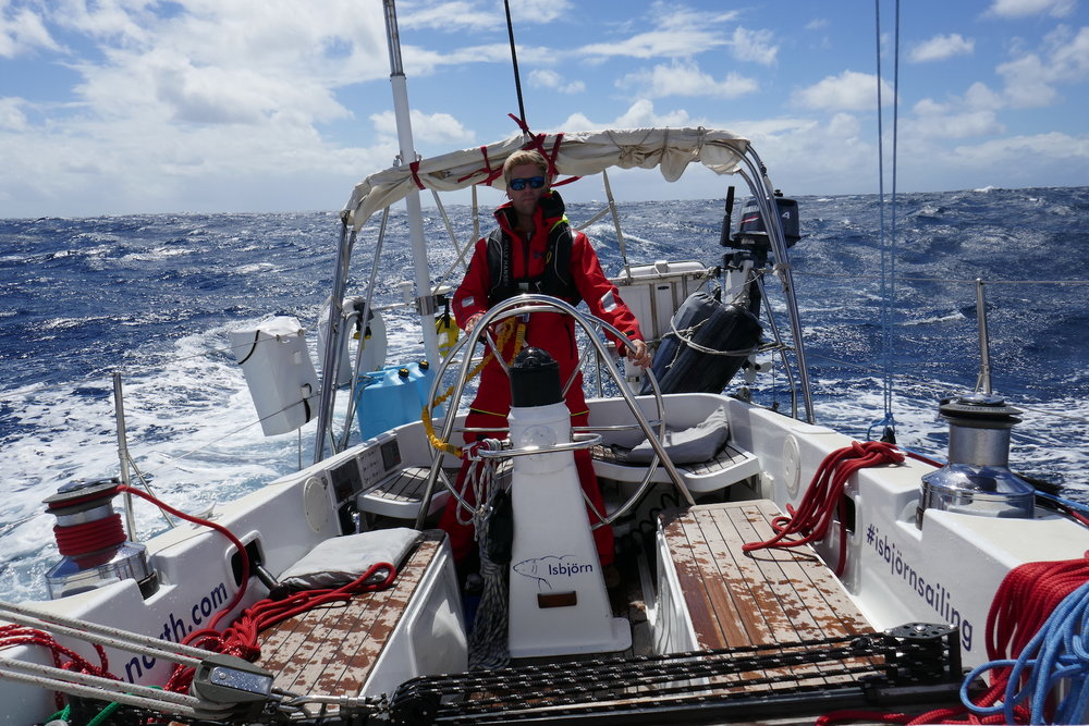 Andy at the helm across the Atlantic!
