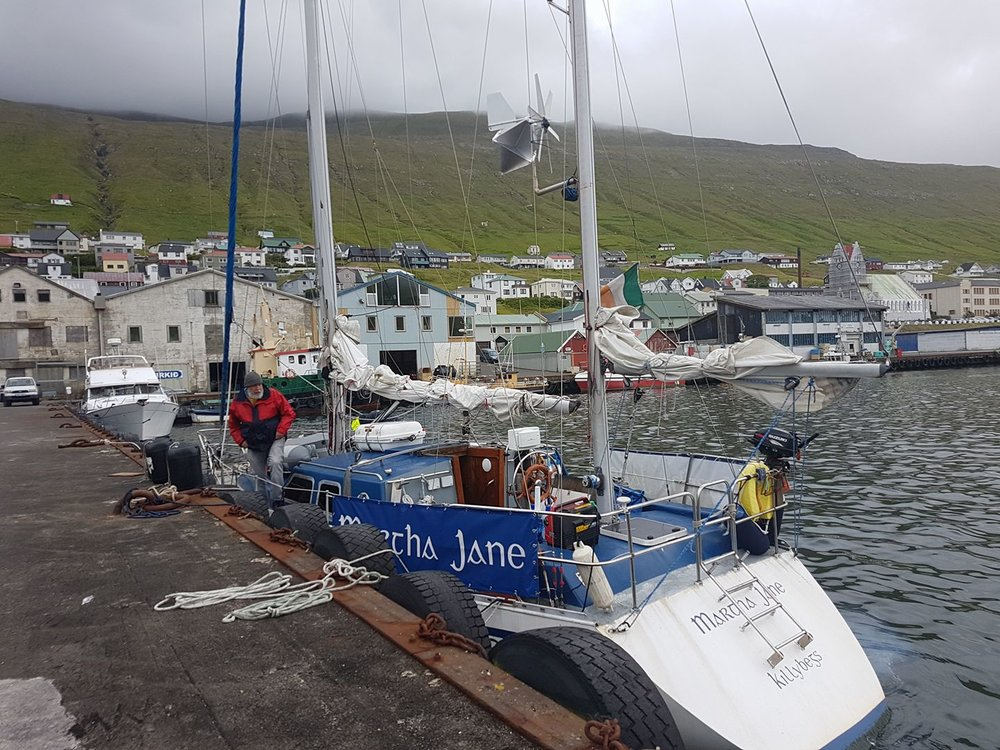The boat doctors have worked their magic and Martha Jane has a new gearbox installed which had to come from another island. Everything is in check and we will be leaving Vágur, Suderoy, Faroe Islands heading in the direction of Seyòisfjöròur, Iceland. Photo from: facebook.com/irelandtoiceland2017
