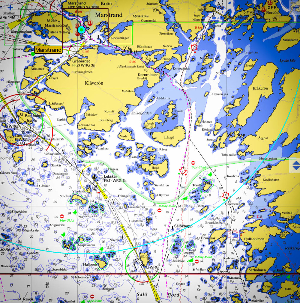 Our bailout-less escape route through the narrow canal to the NE of 'Klåverön', then south and following the dashed line east of 'Långö' &'Högö'. In 35 knots? No thanks.