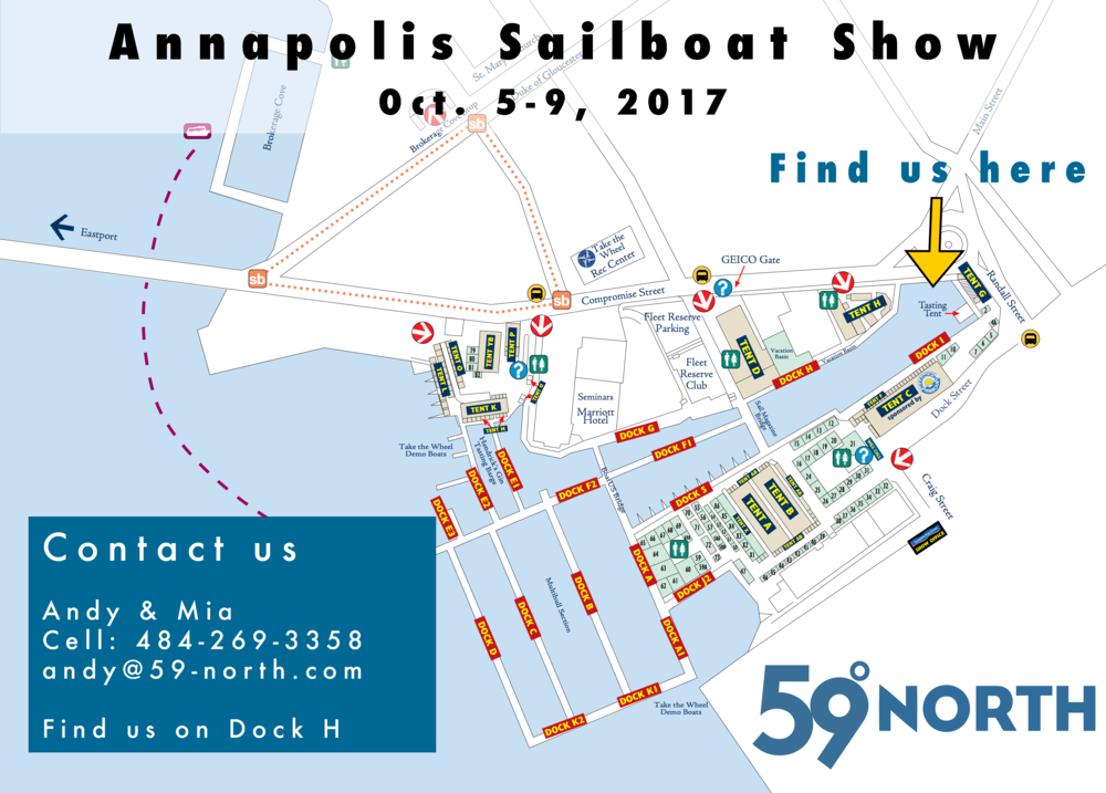 Find us at 59 North / Kokomo Yachting, alongside the H dock at the show, all the way in in Ego Alley!