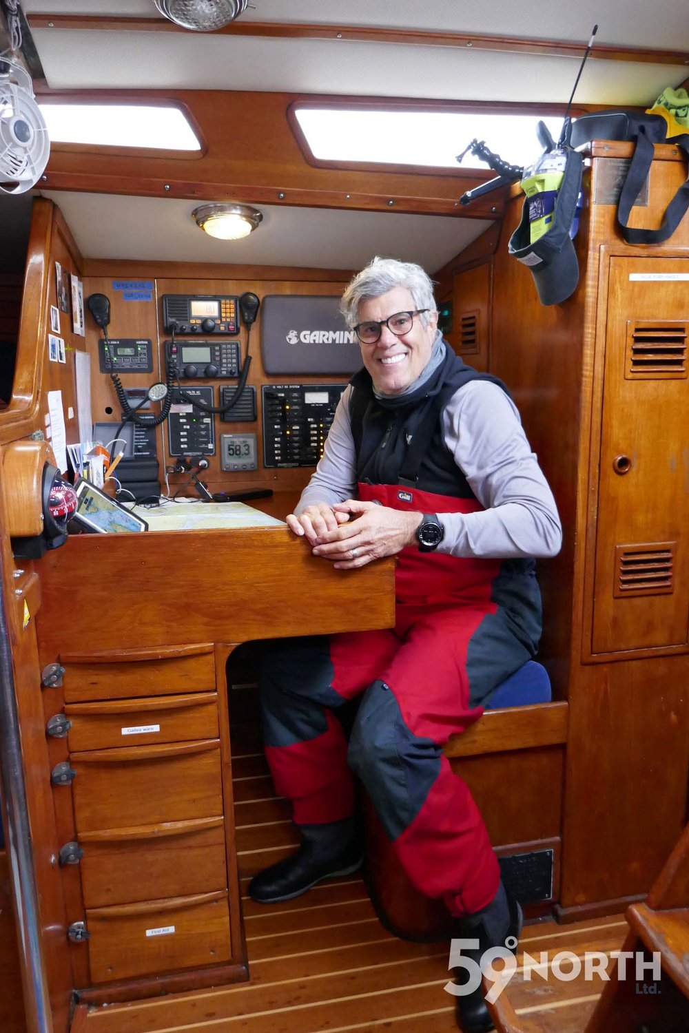 Karl at the nav station! Leg 8, 2017: Sweden to Scotland 59-north.com