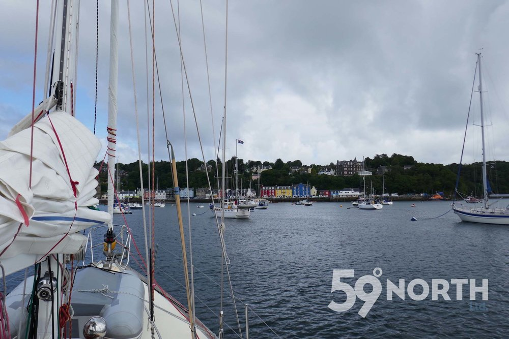 Isbjorn moored in the cute town of Tobermory. Tour at the Tobermory distillery. Leg 8, 2017: Sweden to Scotland 59-north.com