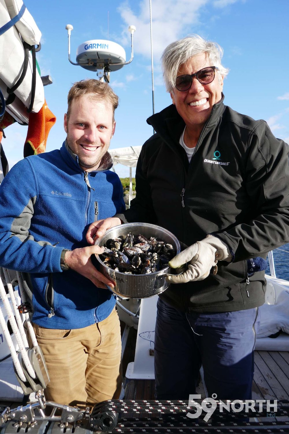 Hand picked mussels by James, Andy & Will. Cleaned by Karl & Steve! Team work aboard, and amazing freshly cooked mussels for dinner!  Loch Scavaig! Leg 8, 2017: Sweden to Scotland 59-north.com