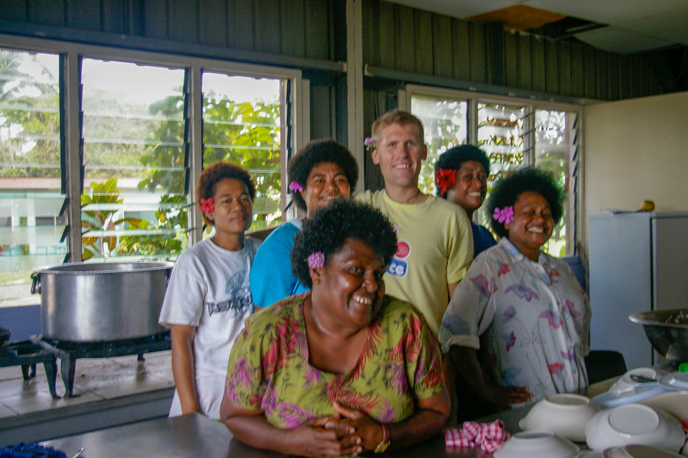 Me and the Fijian family that invited me to dinner on the beach.
