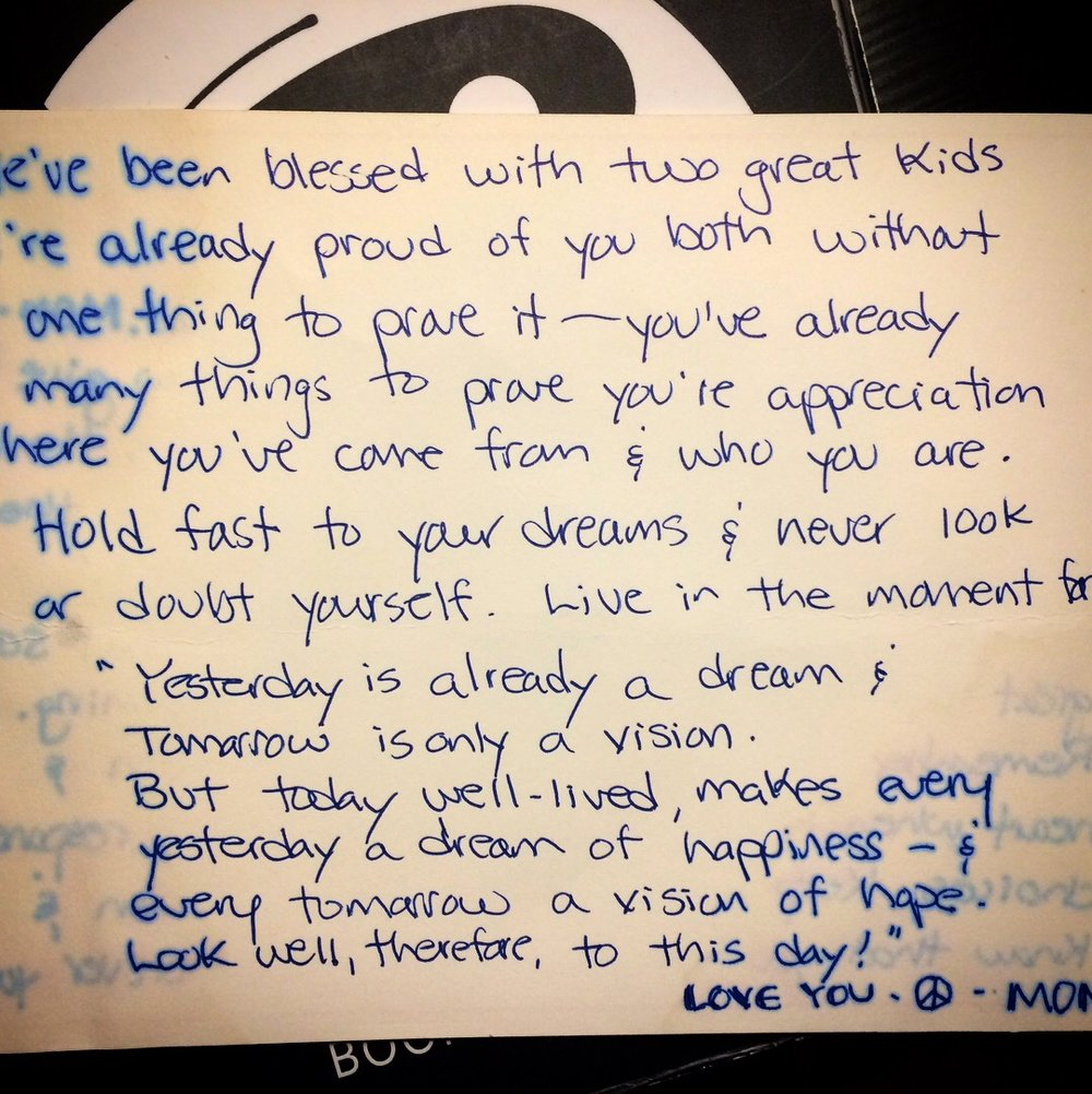 Note from Gail Schell, Andy's mom, in 2006.