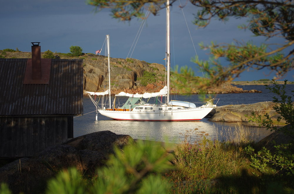 Arcturus anchored at 60º North in the Åland Archipelago in the Baltic.