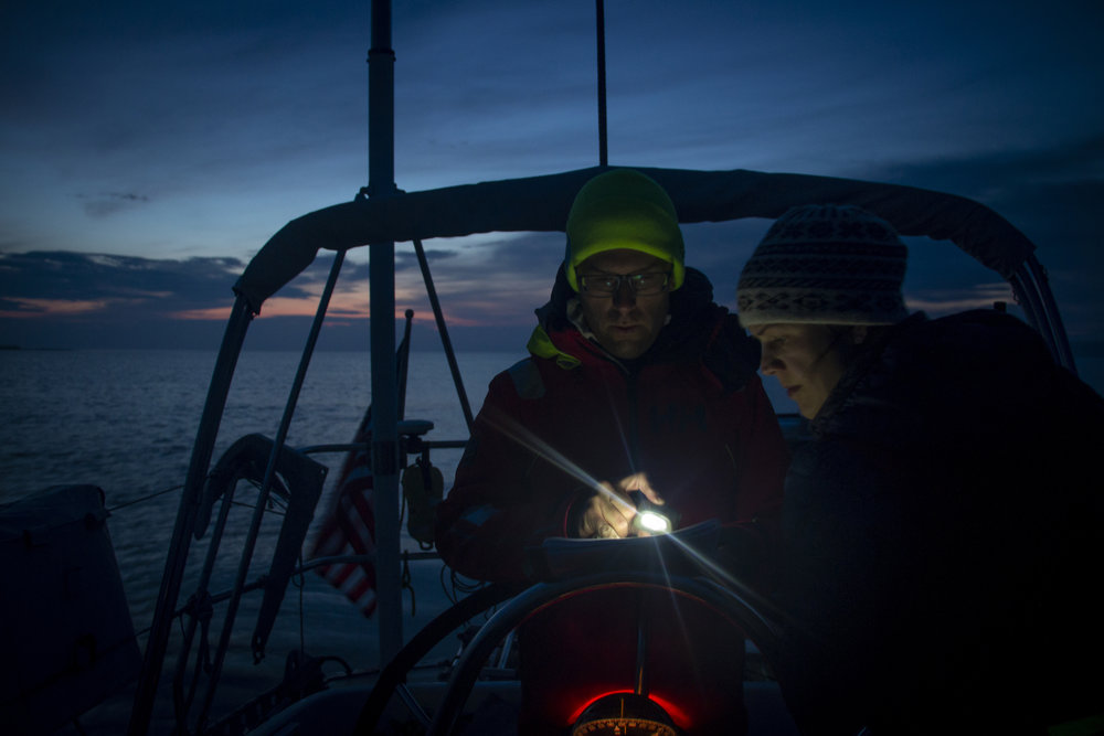 Navigating in the dark at landfall. Photo by crewmember  Sophy Darsy.