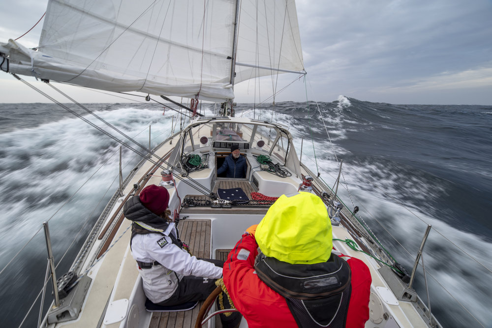Isbjorn covered 190 miles in the first 24 hours from Lerwick! Laura & Dick (helm) driving through some big winds & seas on Day 1.