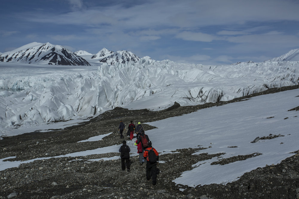 Isbjorn's crew approaches the terminus of the Hansbreen glacier ('breen' actually means glacier in Norwegian).
