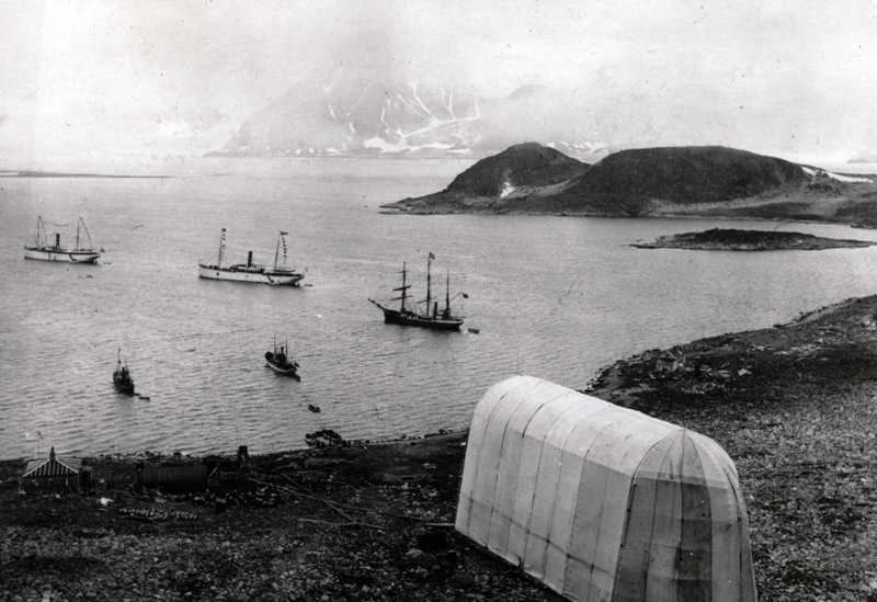 Virgohamna in it's heyday. Image courtesy of the  Norsk Polar Institut. We anchored Isbjorn just off that little island, between it and the beach in the foreground,to the far right of the photo.