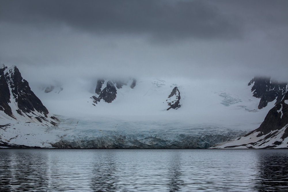 Moody glacier just around the corner from Virgohamna. Photo by James Austrums, Isbjorn's ship's photographer.